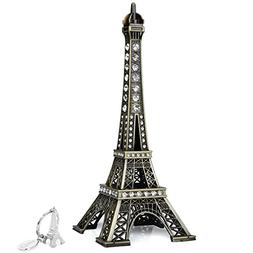 SiCoHome Eiffel Tower Cake Topper, 7.0inch Bronze with Bling