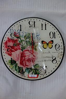 Elegant French Look Wall Clock, Shabby Chic, Floral Patterns