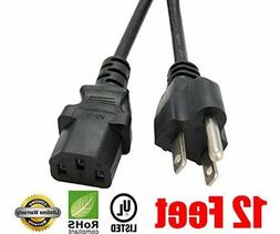 Extra Long 12 feet Ac Power Cord Cable for TV LCD Plasma DLP