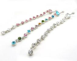 """Extra Long 14G 3/8"""" Belly Button Navel Ring Clear Pink Rainb"""