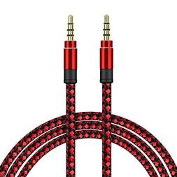 SDTEK Extra Long 3 Metres Red Braided Aux Audio Cable Jack S