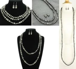 "Extra Long 60"" Western Silver Navajo Style Faux Pearl Neckla"