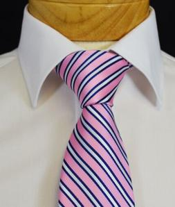 Extra Long Pink and Navy Striped Tie