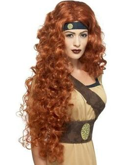Extra Long Auburn Medieval Warrior Queen Wig Womens Smiffys