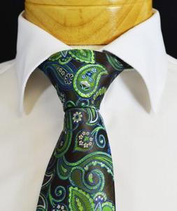 Extra Long Black, Aspen Green and Brown Paisley Men's Tie