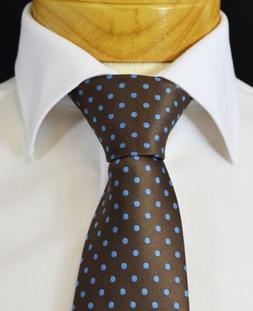 Extra Long Brown and Blue Polka Dots Men's Tie