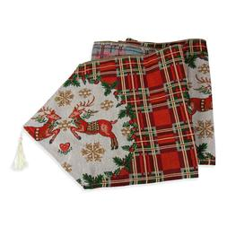 Extra Long Christmas Dining Table Runner in Plaid Reindeer 1