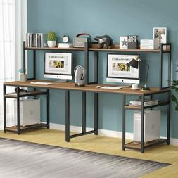Extra Long Computer Desk with Hutch and Storage Shelves Dual