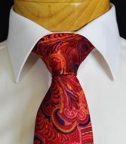 Extra Long Fire Red Paisley Men's Tie
