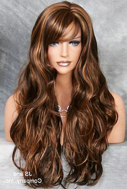 EXTRA LONG Flowing wavy BROWN AUBURN mix WIG JSJO 4-27
