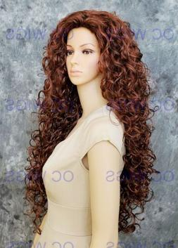 Extra Long Full Volume Spiral Curls Synthetic Wig Dark/Red A