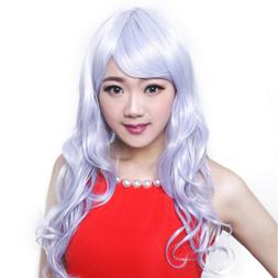 Extra Long Granny Grey Curly Wavy Tilted Frisette Cap Wig on