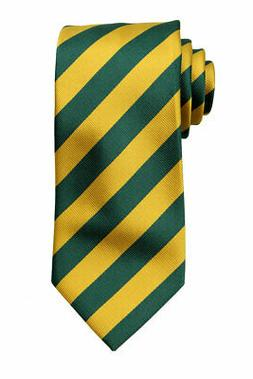 Extra Long Green and Gold Collegiate Striped Men's Tie Neckt