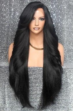 Extra Long Human Hair blend Heat OK Full Lace Front Wig Blon