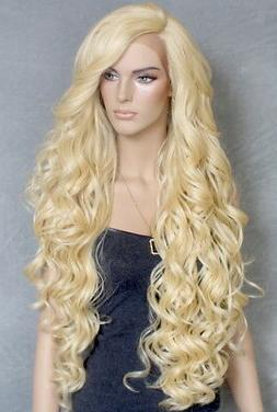 Extra Long Lace Front Wig Full Beautiful Curls Pale Blonde H