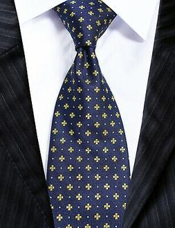 Extra Long Microfibre Necktie Navy Blue Florals Woven Polyes