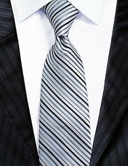 Extra Long Microfibre Necktie Black/silver Striped Woven Pol
