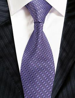 Extra Long Microfibre Necktie Purple Solid Woven Polyester X