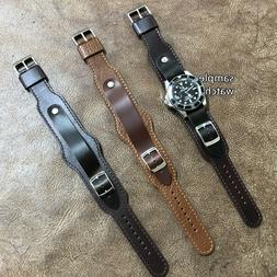 Extra-Long Military Style Leather Cuff Watch Strap/Band Size