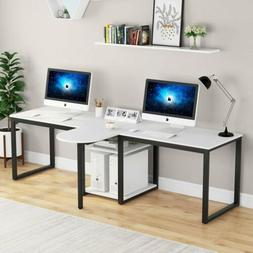 Extra Long Modern Computer Desk with Storage Shelves White 9