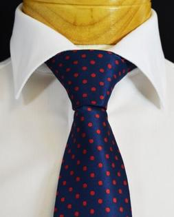 Extra Long Navy and Red Polka Dots Tie