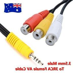 Extra Long Plug 3.5mm AUX Male to 3RCA Female Stereo Audio A