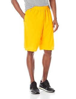 Soffe Men's Extra Long Polyester Closed Hole Mesh Short Gold