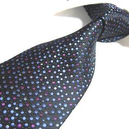 Extra Long Polyester Tie Black/multi Dots Woven XL Microfibr