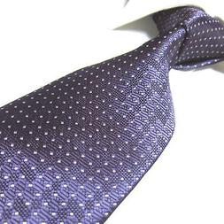 Extra Long Polyester Tie Microfibre Woven Jaquard Purple Nec