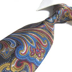 Extra Long Polyester Tie XL Gold/blue Paisley Microfibr Jacq