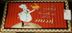 EXTRA LONG PRINTED FLOOR RUNNER  FAT CHEF, KITCHEN IS HEART