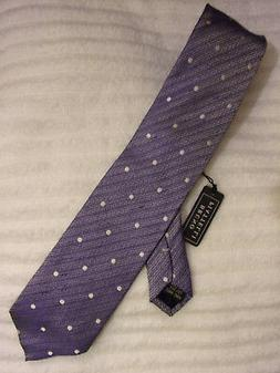 BRUNO PIATTELLI EXTRA LONG SILK NECK TIE IN BLUE/ WHITE DOTS