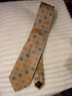 BRUNO PIATTELLI EXTRA LONG SILK NECK TIE IN BLUE/ ORANGE PIN