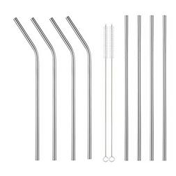 Extra Long Stainless Steel Drinking Straws Set of 8, Straws