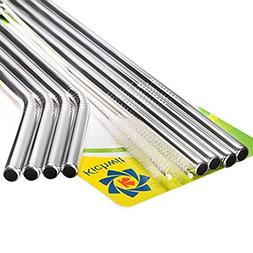 Kichwit Extra Long Stainless Steel Straws Set of 8, Reusable