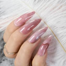 Extra Long STILETTO False Nails Pre-designed Curved Pink Mar