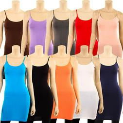 Extra Long Stretch Camisole Tank Top Spaghetti Strap Dress S