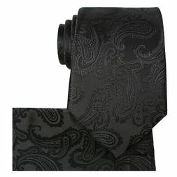 KissTies Extra Long Tie Set Black Paisley Necktie + Hanky +