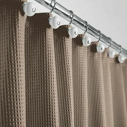 mDesign EXTRA LONG Waffle Weave Fabric Blend Shower Curtain