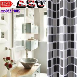 Extra Long Wide Polyster Fabric Mosaic Bathroom Shower Curta