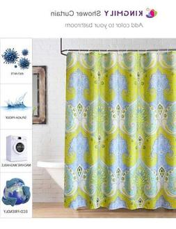 Fabric Shower Curtain, Extra Long, Paisley, Yellow Baby Blue