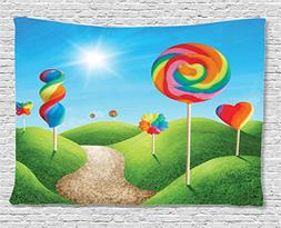 Ambesonne Fantasy Tapestry, Fantasy Candy Land With Deliciou