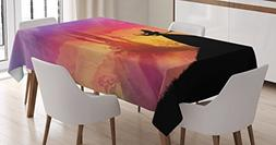 Fantasy Tablecloth by Ambesonne, Silhouette of Prince and Pr
