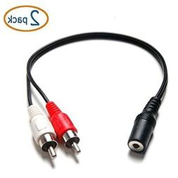 3.5mm Female Stereo to Dual RCA 6 inch Male Red & White Audi