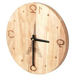 12 Inch Natural Finish Solid Oak Wood Parisian Eiffel Tower
