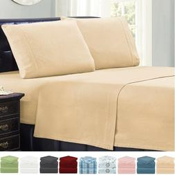 Mellanni 100% Cotton Flannel Sheet Set w/ Deep Pockets, Brea