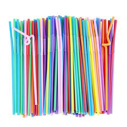 flexible plastic drinking straws extra long disposable