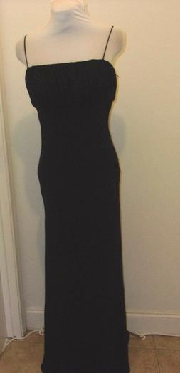 FORMAL WOMEN'S EXTRA LONG  GOWN BLACK JS COLLECTIONS SPAGHET