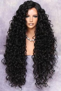 Full Lace Front Human Hair Blend Wig Extra Long Curly Heat o