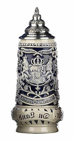 German Beer Stein grey Bavaria Stein, State Coat of Arms in